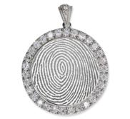 Sterling Silver Cubic Zirconia Fingerprint Round Pendant