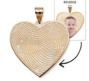 Custom Fingerprint Heart Charm or Pendant with Reverse Photo Option