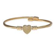 Custom Fingerprint Heart Bangle Bracelet