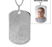 Stainless Steel Custom Fingerprint Dog Tag Pendant with Chain
