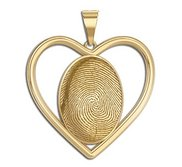 Custom Fingerprint 3D Heart Pendant