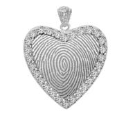 Sterling Silver Cubic Zirconia Fingerprint Heart Pendant