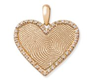 Diamond Frame Heart Fingerprint Necklace