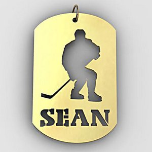 Personalized Hockey Player Sports Dog Tag Cut Out Necklace