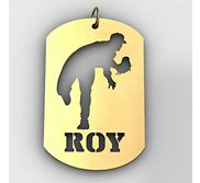 Personalized Baseball Pitcher Sports Dog Tag Cut Out Necklace