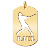 Personalized Baseball Slugger Sports Dog Tag Cut Out Necklace