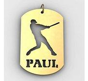 Personalized Softball Slugger Name Dog Tag Cut Out Pendant