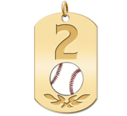 Personalized Baseball Number Dog Tag Color Pendant