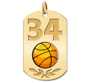 Personalized Basketball Number Dog Tag Color Pendant