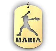 Personalized Female Softball Player Name Dog Tag Cut Out Pendant