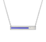 Personalized Horizontal Thin Blue Line Police Necklace with 18  Chain