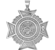 Maltese Cross Firefighter Badge with Your Number   Department