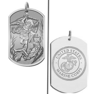 Saint Michael Doubledside MARINES Dogtag Religious Medal  EXCLUSIVE