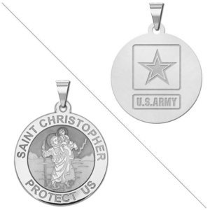 Saint Christopher Doubledside ARMY Religious Medal  EXCLUSIVE