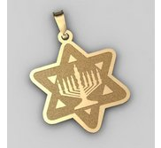 Star of David  w  Menorah Pendant