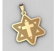 Star of David  w  Cross Pendant