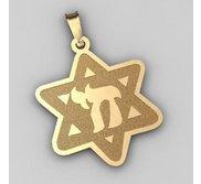 Star of David  w  Chai Symbol Pendant