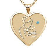 Mother and Daughter   Heart Pendant with Birthstone