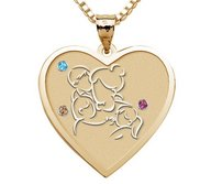 Mother with Son and 2 Daughters Heart Pendant with Birthstones