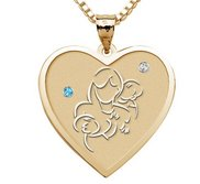 Mother with Two Sons   Heart Pendant with Birthstones