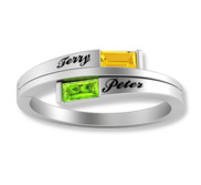 2 Baugette Shaped Birthstone Mother s Personalized Ring