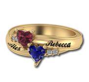 2 Heart Shaped Birthstone Mother s Personalized Ring