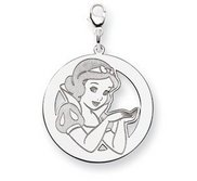 Sterling Silver Snow White Lobster Clasp Round Charm