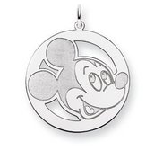 Sterling Silver Disney Mickey Mouse Round Charm