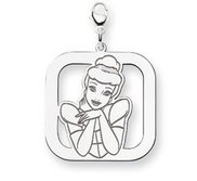 Sterling Silver Cinderella  Lobster Clasp Square Charm