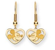 Disney Mickey Mouse Heart Dangle Shepherd Hook Earrings