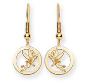 Disney Tinker Bell Shepherd Hook Round Earrings