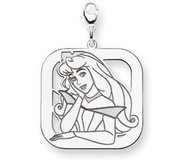 Sterling Silver Princess Aurora Lobster Clasp Square Charm