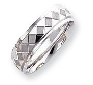 14k White Gold 7mm Design Etched Wedding Band