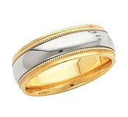 14k Two Tone Gold Flared Edge 6mm Wedding Band