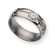 Titanium Circle Design 7mm Polished Wedding Band