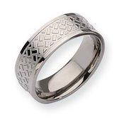 Titanium Weave Design 8mm Polished Wedding Band