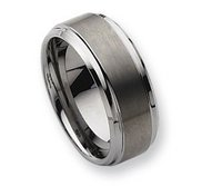 Tungsten Ridged Edge 10mm Brushed and Polished Wedding Band