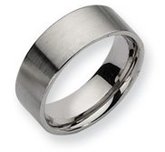 Stainless Steel Flat 8mm Brushed Wedding Band