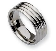 Stainless Steel Grooved 8mm Polished Wedding Band