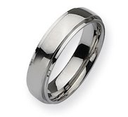 Stainless Steel Ridged Edge 6mm Polished Wedding Band