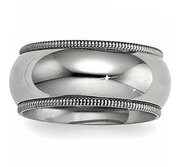Sterling Silver 10mm Milgrain Comfort Fit  Wedding Band