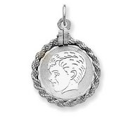Engravable Sterling Silver Rope Frame Boy Pendant or Charm