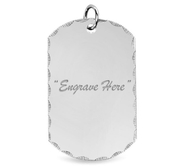 Diamond Cut Engraved Dog Tag Pendant