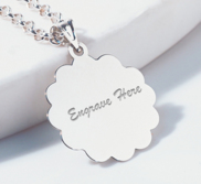 Engravable Round Beveled Charm or Pendant
