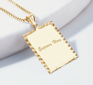 Engravable Rectangle with Diamond Cut Pendant or Charm