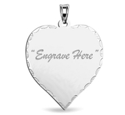 Engraved Heart Pendant Charm with Diamond Cut Edge