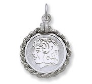 Engravable Sterling Silver Rope Frame Girl Pendant or Charm