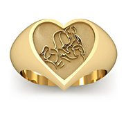 Mother with Three Daughters Heart Shaped  Mother s Ring