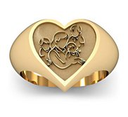 Mother with Three Sons Heart Shaped  Mother s Ring