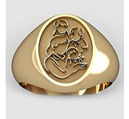 Mother with Three Sons Oval Shaped  Mother s Ring